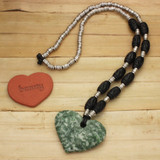 Bamboo View - Tree Jasper Heart Pewter and Wood on a Black RealLeatheR (TM) Cord (0204)