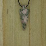 Bamboo Front View - Pendant - Lapis Nevada Chalcedony Arrow G on Black Linen Cord (1489G)