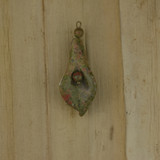 Bamboo Front Side View - Pendant - Unakite Flower C on Antique Gold (1523C)