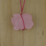 Bamboo View Left - Pendant - Rose Quartz Pig A on Silver Plate (1471A)