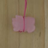Bamboo View Left - Pendant - Rose Quartz Pig C on Silver Plate (1471C)