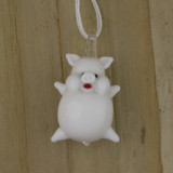 Bamboo Front View - Pendant - Glass White Pig (0999)