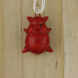Bamboo Front View - Pendant - Glass Red Pig (0985)
