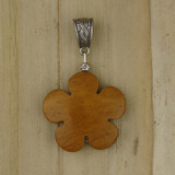 Bamboo View - Side 1 - Pendant - Yellow Jasper Flower on Silver Plate (1483)
