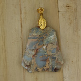 Bamboo View - Side 1 - Pendant - Blue and Gold Jasper Stone Pendant (1477)