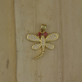 Bamboo Front View -  Pendant - Gold Plate Dragonfly Charm (1501E)