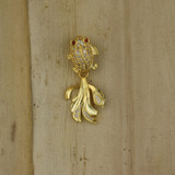 Bamboo Front View -  Gold Plate Frog and Leaf Charm (1501MN)