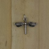Bamboo Front View -  Pendant - Silver Plate Dragonfly Charm (1505)