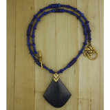Bamboo View - Necklace - Lapis Lazuli Pendant and Necklace on Antique Gold (20 inches) (1535)