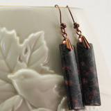 Vase View - Red Snowflake Obsidian Wedge on Antique Copper Ear-wires (0245)