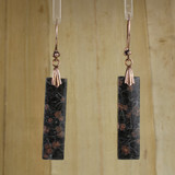 Bamboo Center View - Red Snowflake Obsidian Wedge on Antique Copper Ear-wires (0245)