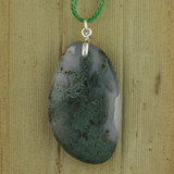 Bamboo Side A View - Pendant - Moss Agate on Silver Plate (1542)