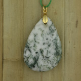 Bamboo Side 1 View - Pendant - Tree Jasper on Gold Plate (1543)