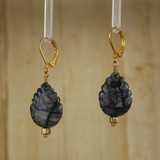 Bamboo Left View - Picasso Marble Trees on Gold Plated Ear-wires (1084)