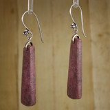 Bamboo Left View Rhodonite Wedges on Sterling Silver Ear-wires (0243)