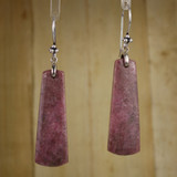 Bamboo Center View - Rhodonite Wedges on Sterling Silver Ear-wires (0243)