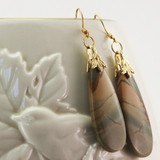 Vase View - Red Creek Jasper Drop on 24k Gold Ear-wires (1045)