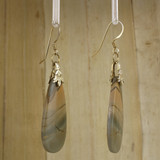 Bamboo Right View - Red Creek Jasper Drop on 24k Gold Ear-wires (1045)