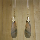 Bamboo Center View - Red Creek Jasper Drop on 24k Gold Ear-wires (1045)