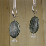 Bamboo Left View - Seraphinite Oval and Czech Glass Flower on Silver Ear-wires (0836)