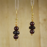 Bamboo Center View - Garnets on Gold Plate Ear-wires (0548)