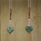 Bamboo Center View - Rose Quartz and Glass Leaf on Copper Ear-wires (1090)