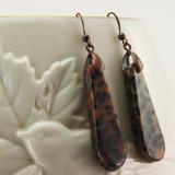 Vase View - Cheetah Jasper Wedge on Antique Copper Ear-wires (0890)