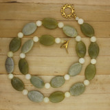 Bamboo View - Necklace -Desert Sage Agate on Gold Plate (30 inches) (1367)