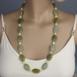 Mannequin View - Necklace -Desert Sage Agate on Gold Plate (30 inches) (1367)