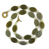 White View - Necklace -Desert Sage Agate on Gold Plate (30 inches) (1367)