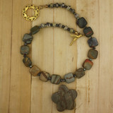Bamboo View - Choker - Ocean  Jasper Flower on Gold Plate (14 inches)
