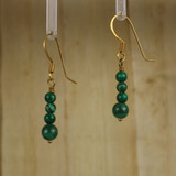 Bamboo Left View - Malachite Rounds on Gold Ear-wires (1095)