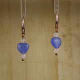 Bamboo Center View - Rose Quartz and Blue Serenity Glass Small Hearts on Copper Ear-wires (1089)