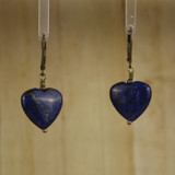 Bamboo Center View - Lapis Heart Earrrings on Antique Gold Earwires (1078)