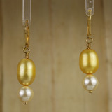 Bamboo Center View - Gold Freshwater Pearl and Cream Imitation Shell Pearl on Gold Earwires (1239)