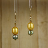 Bamboo Center View - Gold and Green Freshwater Pearl on Gold Earwires (1244)