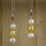 Bamboo Center View - White Freshwater Pearl and Gold Cultured Pearl on Silver Earwires (1245)