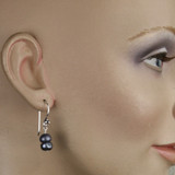 Mannequin View -Blue Freshwater Pearl Earrings (1252)