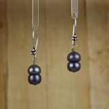 Bamboo Center View -Blue Cultured Pearl Earrings (1252)