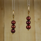 Bamboo Center View - Cultured Chocolate Colored Pearl on Gold Earwires (1251)