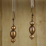 Bamboo Center View - Bronzy Cultured Pearl on Antique Copper Earwires (1253)