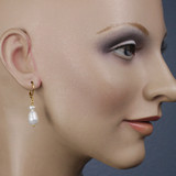 Mannequin View - White Freshwater and Cultured Pearl on Gold Earwires (1255)