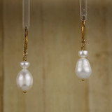 Bamboo Center View - White Freshwater and Cultured Pearl on Gold Earwires (1255)