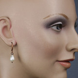 Mannequin View - White Freshwater Pearl and Tan Imitation Pearl on Copper Earwires (1256)