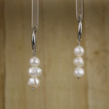 Bamboo Center View - White Cultured Pearl on Silver Earwires (1259)