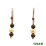 White Center View - Brown Imitation Pearl and White Cultured Pearl on Copper Earwires (1262)