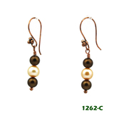 White Left View - Brown Imitation Pearl and White Cultured Pearl on Copper Earwires (1262)