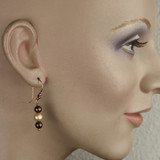 Mannequin View -Brown Imitation Pearl and White Cultured Pearl on Copper Earwires (1262)