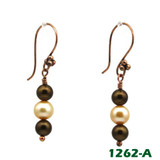 White RIght View - Brown Imitation Pearl and White Cultured Pearl on Copper Earwires (1262)