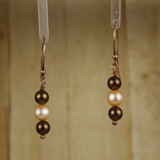 Bamboo Center View - Brown Imitation Pearl and White Cultured Pearl on Copper Earwires (1262)